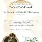 Aristoadal Award UnAfraid, UnFrazzled & UnFrogettable Book